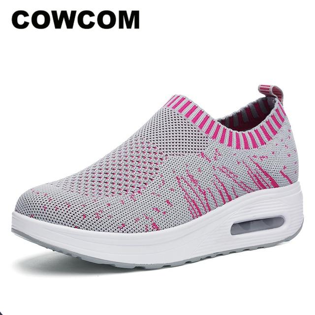 COWCOM קיץ נעלי נשים לטוס משטח אריגת לנשימה ספורט מזדמן Waddling נעלי כרית עוגת נעל אחת CYL 3902