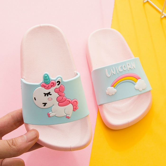 Kids Slippers Unicorn Home Slippers For Boy Girl Rainbow Shoes 2020 Summer Toddler Animal Kids Indoor Baby Slippers PVC Cartoon