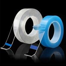 Новинка! многофункциональная клейкая поверхность с двух сторон Nano, Не оставляющий следов надежный дизайн моющиеся самоклеющийся прозрачная лента 1/3/5 M многоразового использования