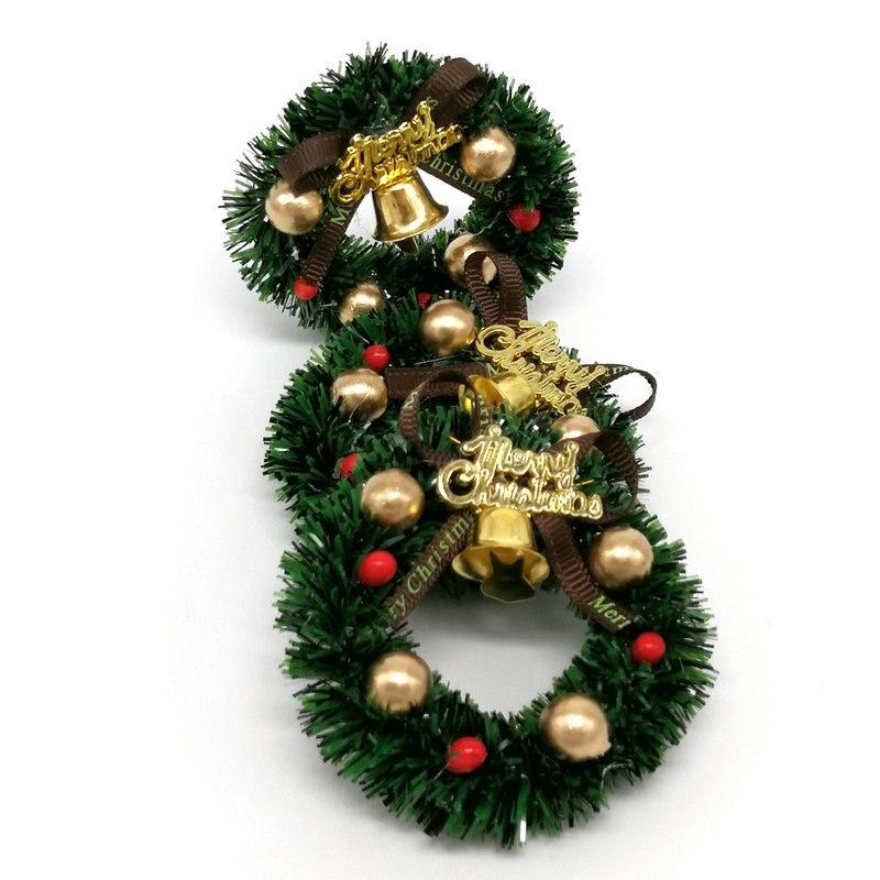 Mini Christmas Wreath Fairy Garden Decor Xmas Tree Ornaments Dollhouse Accessory