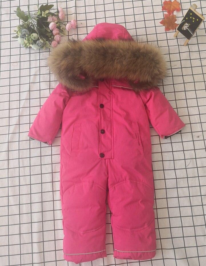 Bébé mère 2019 hiver réel fourrure de raton laveur à capuche neige porter des vêtements de dessus chauds vêtements de ski - 5