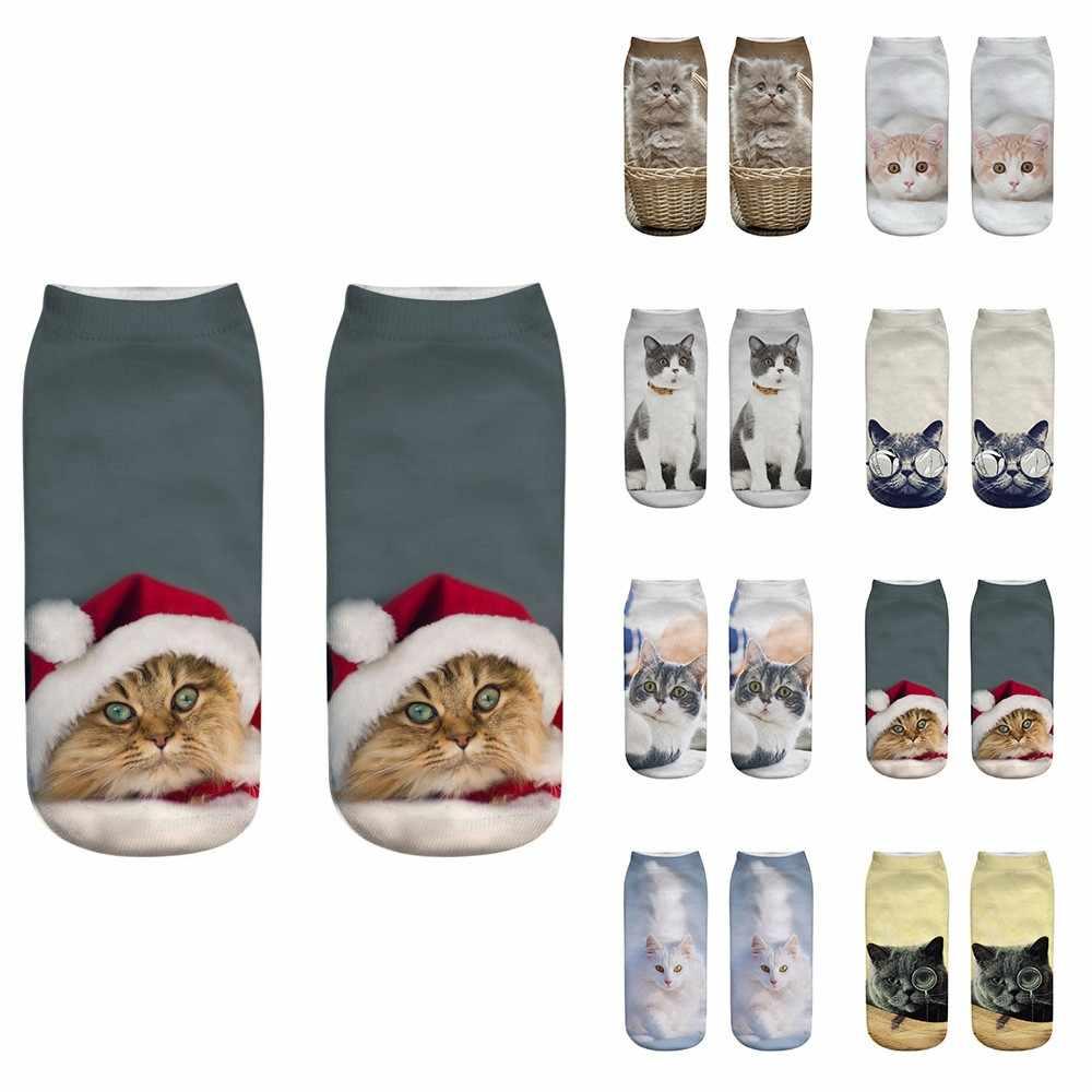 Noël femmes hommes chaussettes unisexe chaussettes unisexe drôle 3d chat imprimé chaussettes décontractées coupe basse noël cheville chaussettes Skarpetki 2019