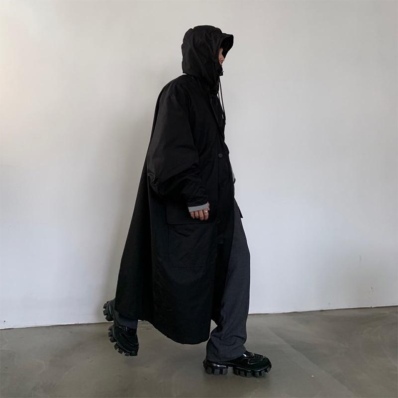 Мужское пальто свободного кроя с капюшоном, хлопковая стеганая длинная куртка для мужчин и женщин, уличная винтажная верхняя одежда, ветровка, плащ