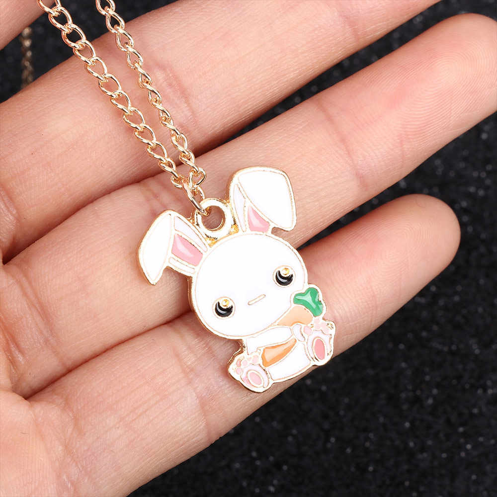Милый кролик из мультфильма морковь эмаль ожерелье кулон модное ожерелье высокого качества ювелирные изделия для детей подарок 1 шт