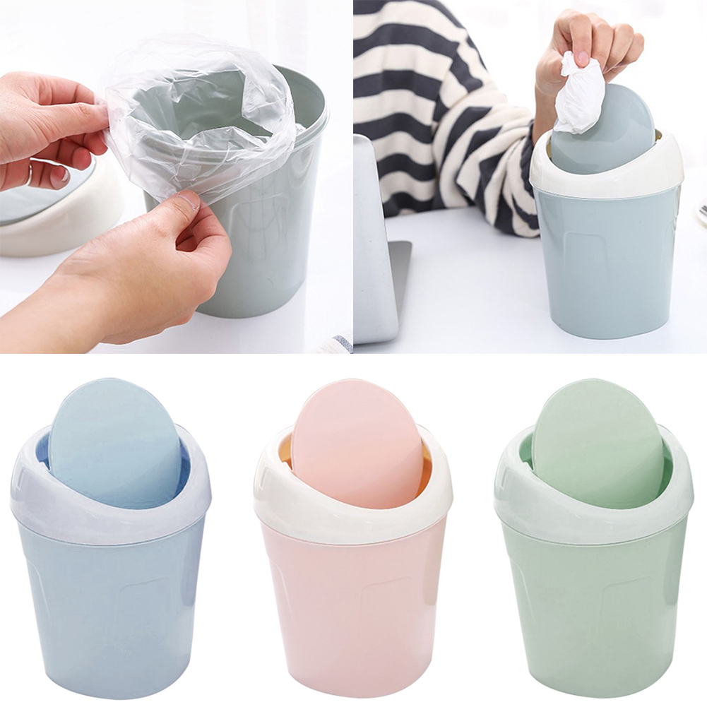 Plastic Small Waste Bin Cute Solid Color Mini Trash Can Desktop Table Home Office Trash Can Household Cleaning Tools With Lid