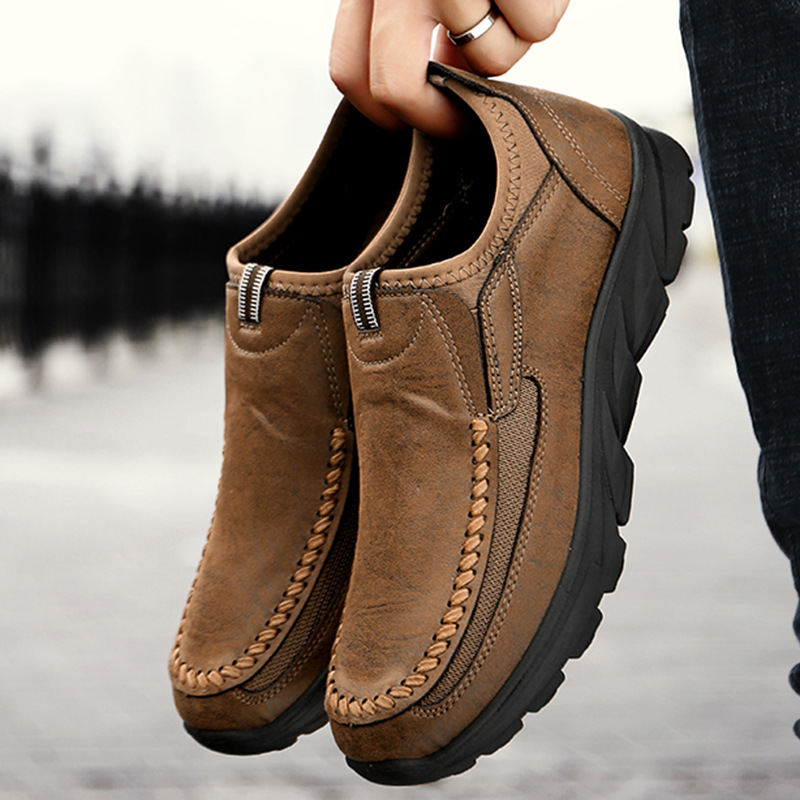 New Fashion Handmade Man Casual Genuine Leather Shoes 2019 Winter Casual Breathable Men Flat Shoes Loafers Plus Size 38-46