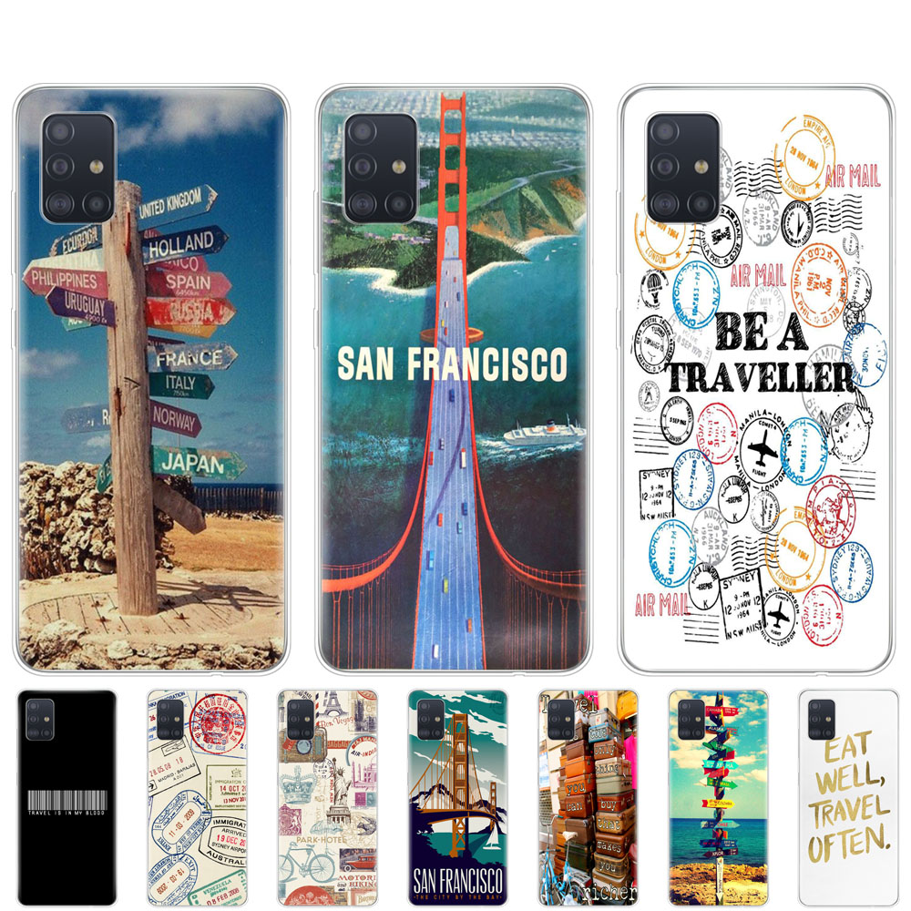 silicon phone cover <font><b>case</b></font> for <font><b>samsung</b></font> galaxy A51 A31 A71 A01 A81 A91 A30S A20S <font><b>A50S</b></font> M30S M40S Travel signpost Stamps image