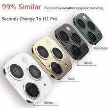 Металл+ стекло объектив камеры Чехол протектор для iPhone X Xs Max XR изменение для iPhone 11 Pro поддельные камуфляж задняя наклейка на рассеиватель
