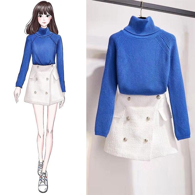 ICHOIX Women 2 Piece Set Fall Winter Clothing Women Knitted Sweater Korean Elegant Office Ladies Skirt Set Two Piece Outfits