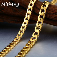 Misheng New Mens Stainless Steel Blade Chain Long Necklace Simple Accessories 2019 Fashion Figaro Jewelry 5-7mm