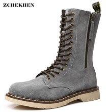 Зимние осенние мужские мотоциклетные ботинки из натуральной кожи мужская обувь на шнуровке винтажные высокие военные ботинки для пустыни и снега размеры 38-47