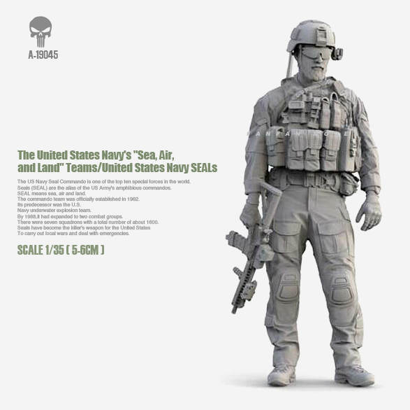 1/35 Resin Figure Kits US Navy Seal Assault Resin Soldier  Self-assembled(50mm) A-19045