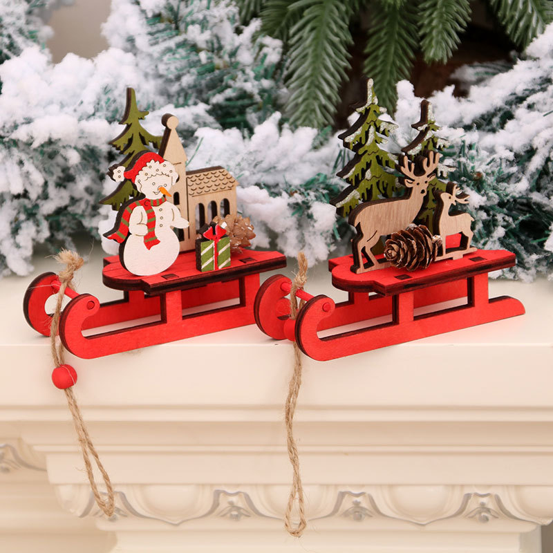 Christmas Decoration Handmade Wooden Assembled Reindeer Sled DIY Ornaments Snowman Elk Model Christmas Party Kids Gifts 10x9x4cm