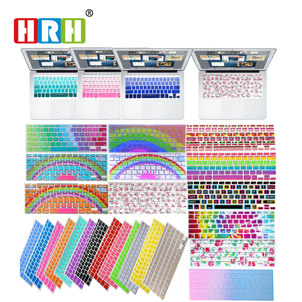 """HRH Decal Rainbow Silicone US Keyboard Cover Keypad Skin Protector For Mac book Pro 13"""" 15"""" 17"""" Air Retina"""