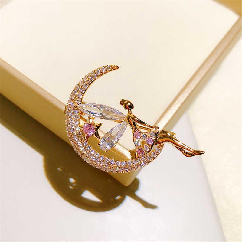 Lüks Rhinestone ay yıldız açısı broşlar iğneler kristal broş gelin buketi için kanat çiçekli broş nişan aksesuar takı