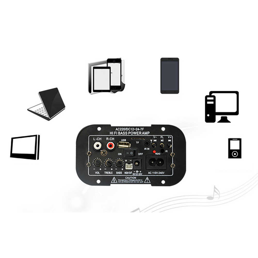30W Placa Amplificador de Áudio bluetooth MP3 Amplificador dac USB rádio FM TF Player Subwoofer Amplificadores DIY Para O Carro Motocicleta casa