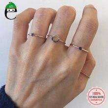 Elfoplatasi 925 prata esterlina personalidade de ouro azul zircão tamanho aberto anel para moda feminino prata esterlina jóias presente da966