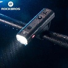 ROCKBROS велосипедный светильник, непромокаемый, USB, перезаряжаемый, светодиодный, 2000 мА/ч, MTB, передняя лампа, головной светильник, алюминиевый, ультра-светильник, светильник-вспышка, велосипедный светильник