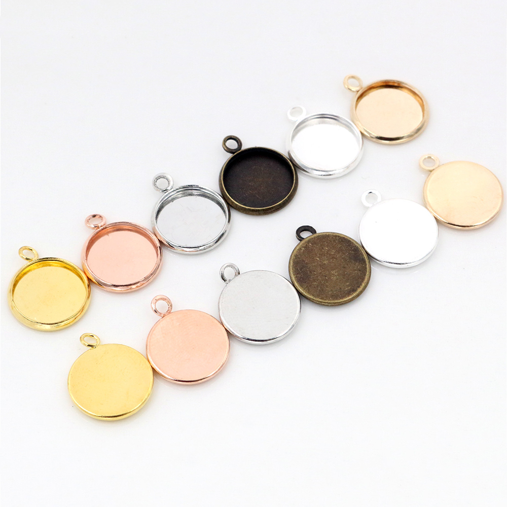 50pcs 12mm Inner Size Classic 7 Colors Plated One Sided Double Hanging Simple Style Iron Material Cameo Setting Pendant Tray