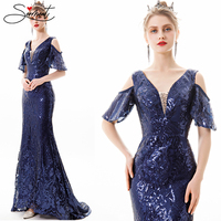 SERMENT Spring Autumn Mermaid Long Sleeve Simple Retro Evening Dress V Neck Blue Sequin Suitable for Formal Party