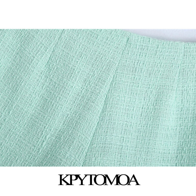 KPYTOMOA Women 2021 Chic Fashion With Buttons Tweed Shorts Skirts Vintage High Waist Side Zipper Female Skorts Mujer 5