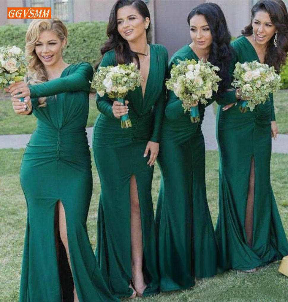 Fashionable V Neck Mermaid Bridesmaid Dresses Long Sleeves Green Maid Of Honor Dress Sexy Front Slit Wedding Formal Party Gowns