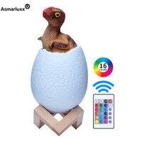 3D Print Dinosaur Egg Lamp USB LED Rechargeable Novelty 3 or 16 Colors Table Desk lamp Creative Night light Decor Christmas Gift