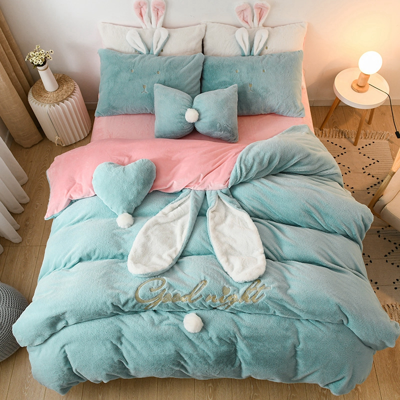 Cute Rabbit Ear Blue Pink White Yellow Fleece Fabric Winter Girl Bedding Set Soft Velvet Duvet Cover Bed Sheet/Linen Pillowcases