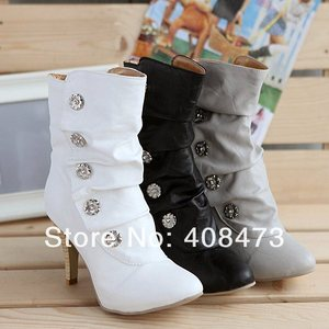 Image 3 - Anmairon botas estilo winther, botas femininas no salto alto, estilo pu, cano médio, cores para neve botas curtas