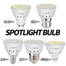 E27 lámpara LED GU10 bombilla de foco E14 Lampada 48 60 80leds lámpara GU 10 Bombillas Led 220V MR16 gu5.3 luz B22 3W 5W 7W