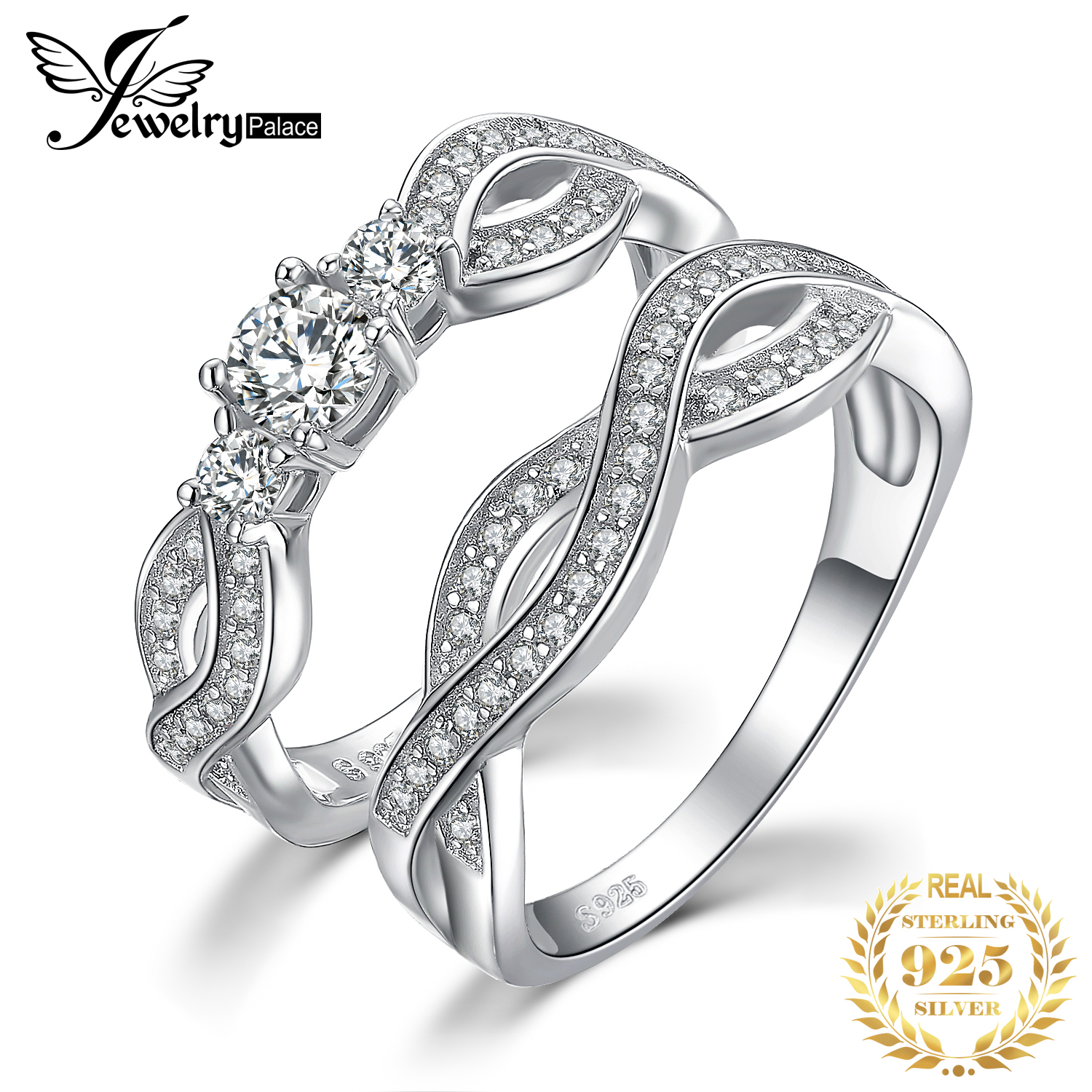 JPalace Infinity CZ Engagement Ring Set 925 Sterling Silver Rings For Women Wedding Rings Bands Bridal Sets Silver 925 Jewelry