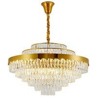 Manggic ac110v 220v lustre moderno design de ouro luxo lustre cristal iluminação sala estar lâmpada