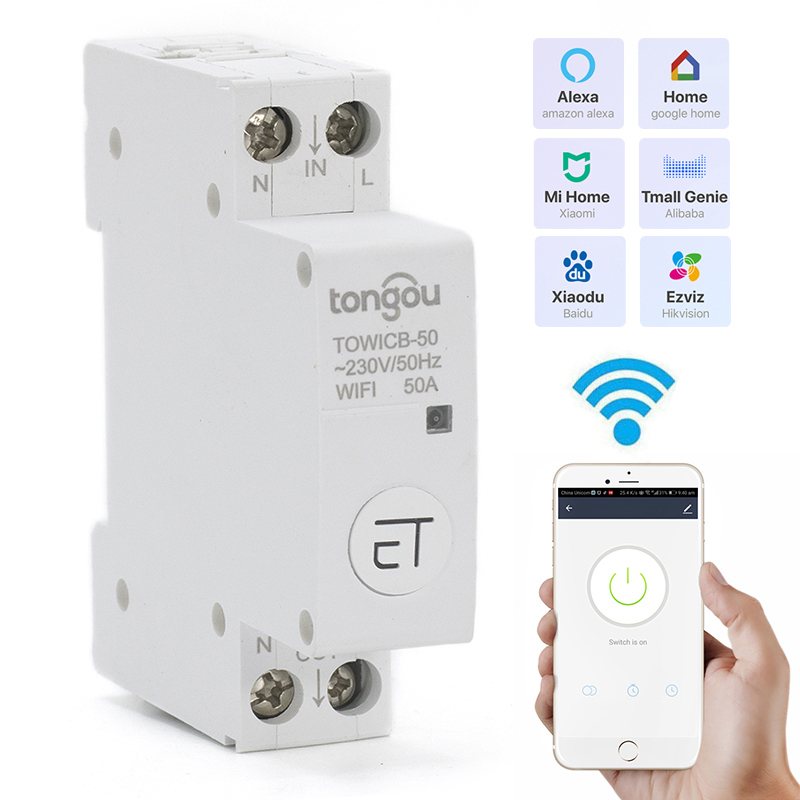 Ewelink Wifi Smart Circuit Breaker Turn ON/OFF The Light/water Heater/TV/air Conditioner 18 Mm Din Rail Install 16A/32A/40A/50A