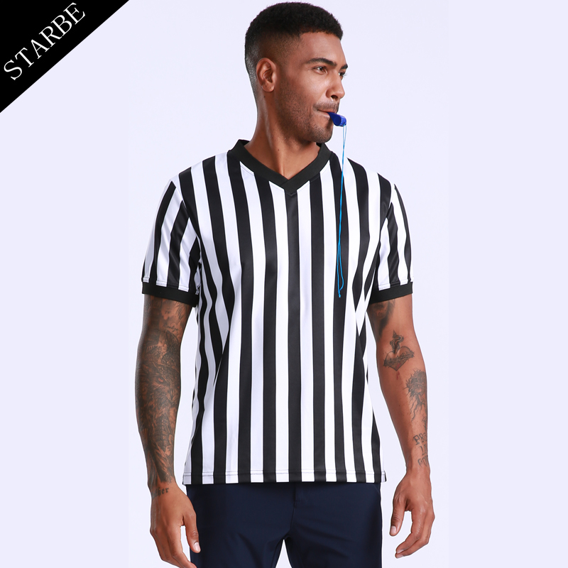 High Quality Dry Fit Eyelet Polyester V-neck Referee Shirt