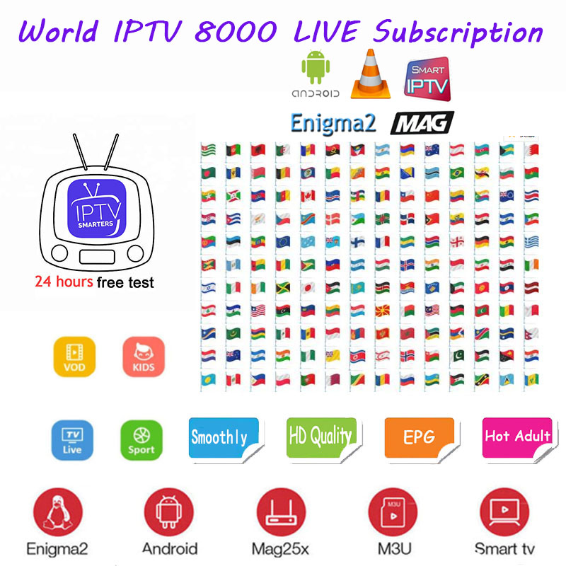 1 Year FHD IPTV Subscription Android Box Adult 8000+ Live VOD IPTV Spain  French Portugal Uk M3u Smart Tv Ma9 250 Hot Vip