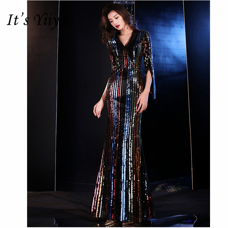 It's Yiiya   Evening     Dress   2019 Elegant V-Neck Mermaid Women Party   Dresses   Half Sleeve Sequin Floor-Length Robe De Soiree E810