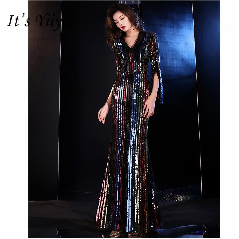 It's Yiiya   Evening     Dress   2019 Elegant V-Neck Mermaid Women Party   Dresses   Half Sleeve Sequin Floor-Length Robe De Soiree E810