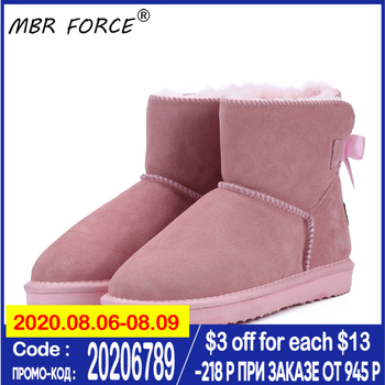 MBR FORCE Classic lace up Women Warm Snow Boots Winter Boot Genuine Cowhide Leather Women Boots Ankle Boots Fur Shoes large Size clax mens high boots genuine leather autumn casual motorcycle boots male shoe winter boot fur warm snow shoes