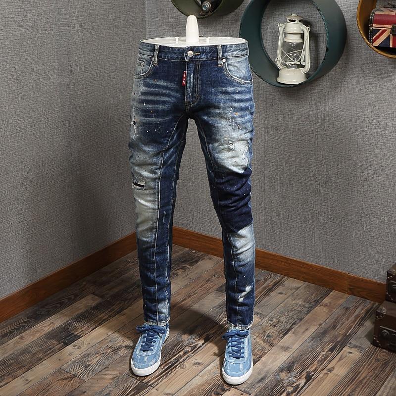 Fashion Streetwear Men Jeans Retro Blue Wash Spliced Designer Ripped Jeans Men Baggy Pants Slim Fit Elastic Hip Hop Jeans Homme