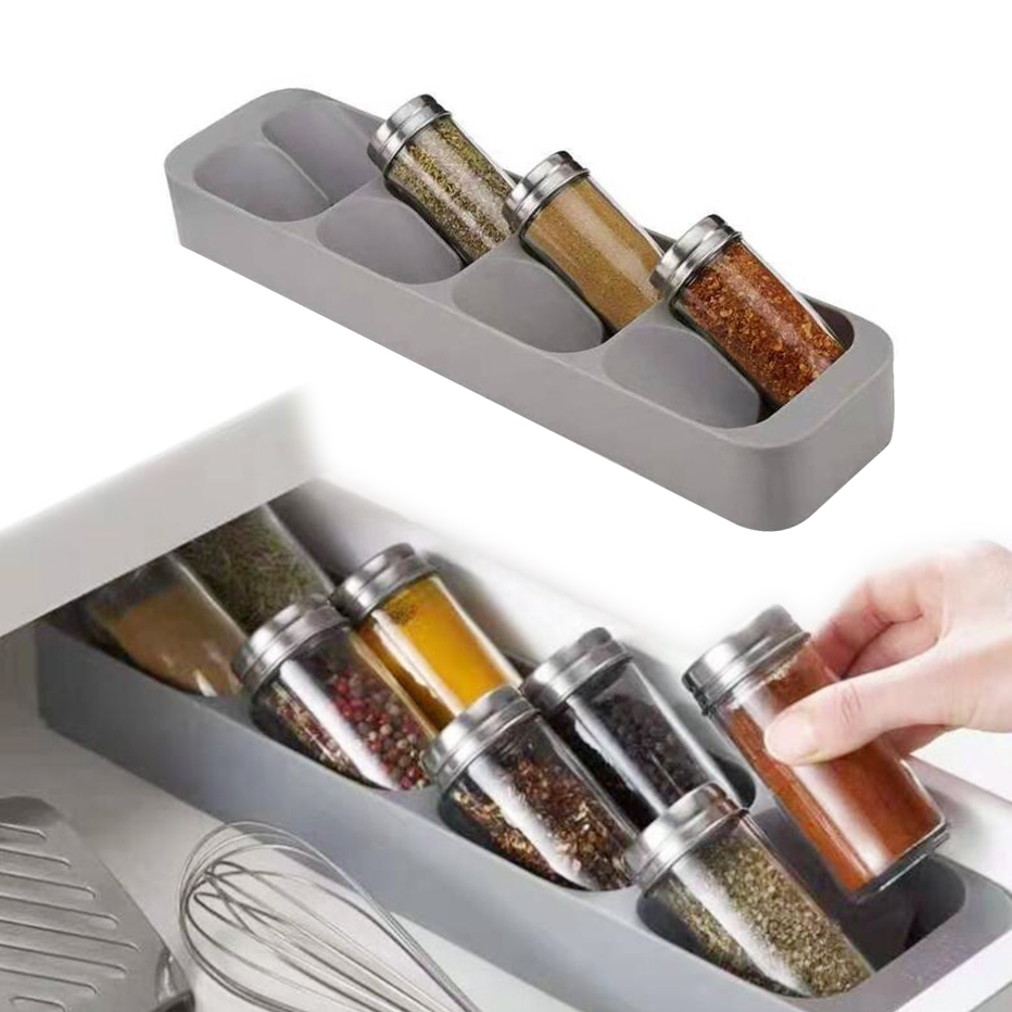 Spice Storage Rack and Kitchen Organizer with 8 Holes for Storage of Spice Jars and Bottles 5