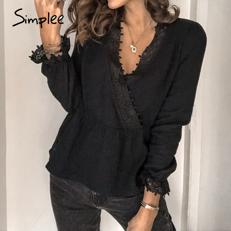 Simplee Casual Lace V Neck Women Blouse Shirt Solid Long Sleeve Female Tops Shirt Spring Summer Work Office Ladies Blouses 2020