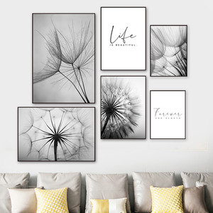 Abstract Dandelion Wall Art Canvas Painting Poster Modern Black White Life Quote Art Wall Print Picture Living Room Decor YX144