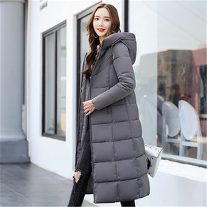 Image 3 - Autumn Winter Jacket Women Long Hooded Warm Overcoat Womens Down Jackets 2019 Fashion Plus Size 6XL Solid Color Parka Coat