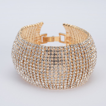 LISMEuropean and American hot-selling personality exaggerated luxury high-quality metal inlaid 3A grade zircon ladies bracelet