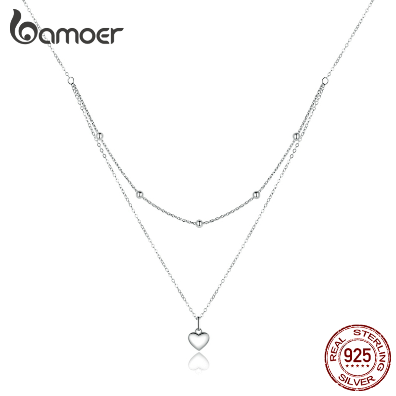 bamoer Genuine 925 Sterling Silver Heart Pendant Necklace for Women Silver Double Layers Female Necklaces Fine Jewelry BSN168
