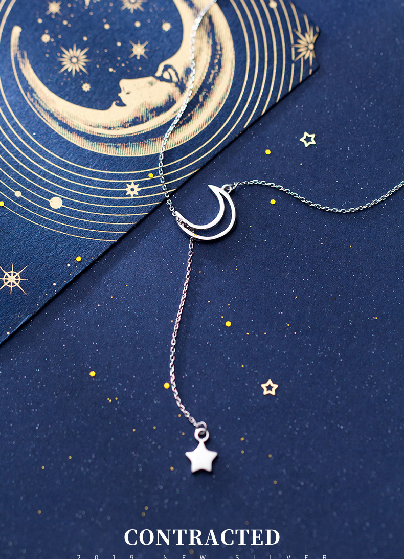DXJEL 100% 925 Sterling Silver New Arrival Fashion Moon and Star Tales Chain Link Pendant Necklaces for Women Fine Jewelry Choker Necklaces Dropshipping Jewelry Accessories Collar Colar