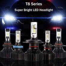 T8 6000 k h7 led lâmpada do farol do carro 60 w 8000lm zes chip led farol h4 h11 h1 h8 9006 h3 9012 luz do farol frente carro