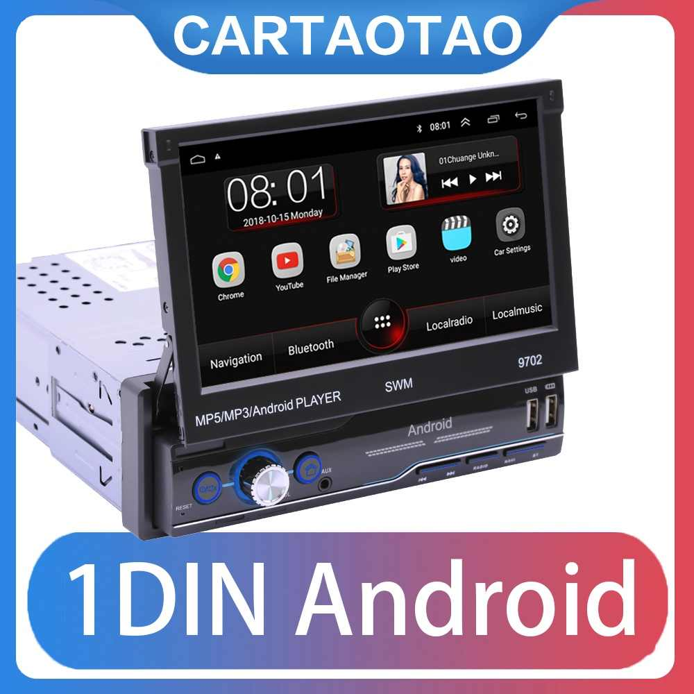 "1din Android 8,1 ir Quad-Core navegación GPS con DVD para coche Player 7 ""Universal coche Radio WiFi Bluetooth MP5 reproductor Multimedia"