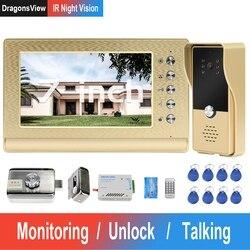 DragonsView Video puerta teléfono con cable Video intercomunicador con bloqueo Sistema de Control de Acceso a casa bloqueo eléctrico IR visión nocturna Panel de llamada