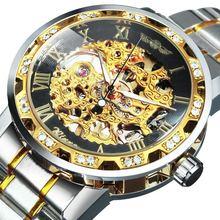 Золотые часы мужские механические наручные скелетоны 2021 роскошные